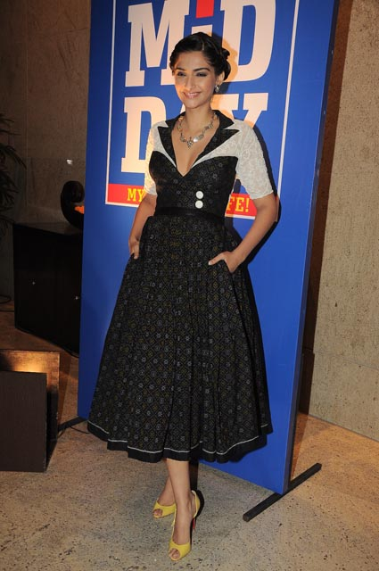 Sonam Kapoor in black ikat dress from Grassroot