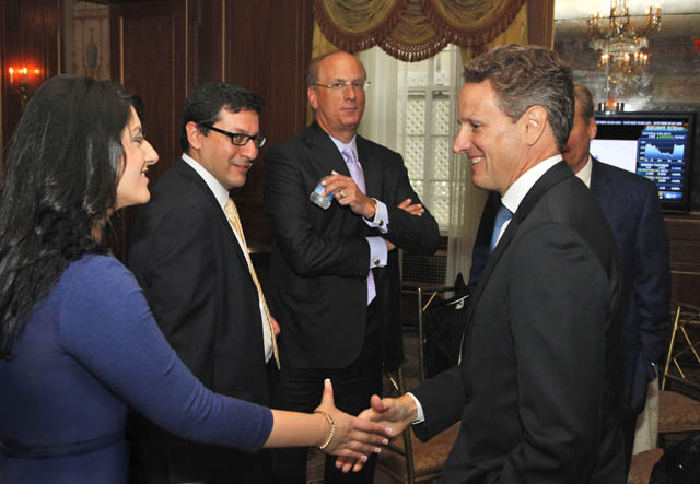 Maneet Ahuja with Geithner at CNBC's 'Delivering Alpha conference. Photo by Heidi Gutman/CNBC