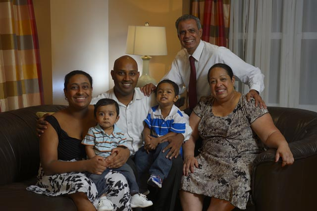 Assemblyman Upendra Chivukula who is standing for the US congress, with his wife Dayci and family