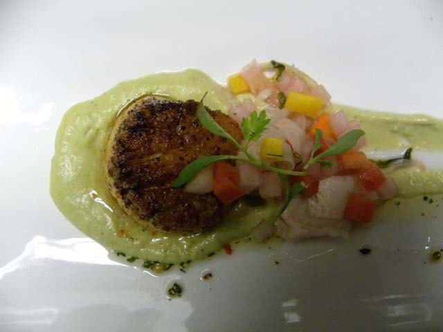 Curried scallops, Edamame Pau Bhaji puree, Fennel carrot salad  from Chef Maneet Chauhan