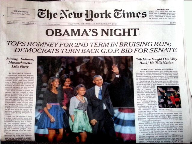 Barack Obama has been re-elected to the presidency