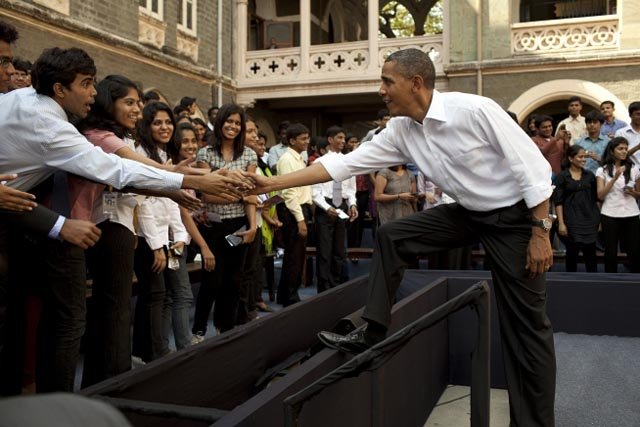 President Barack Obama greets students following a town hall meeting at St. Xavier College in Mumbai, India, Nov. 7, 2010. (Official White House Photo by Pete Souza)