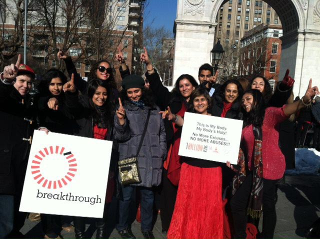 Indian American activists gathered together for One Billion Rising at Washington Square Park