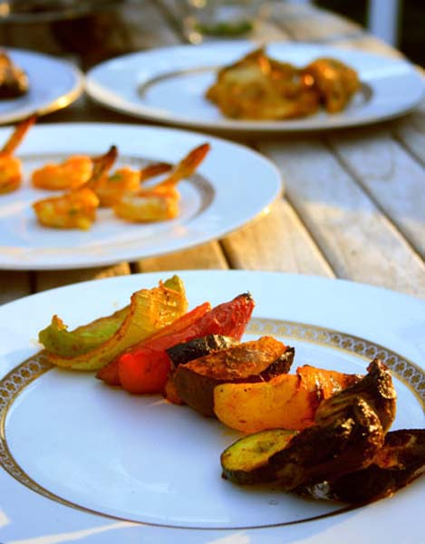 Vegetables for grilling in the homdoor