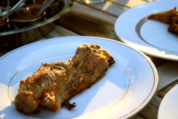 Tandoori lamb cooked in the Indian oven