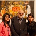 Curator Vijay Kumar with artist Ranna Chaudry and guest