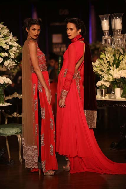 Red with gold embroidery by Manish Malhotra