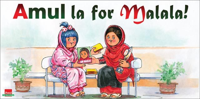 Malala gets her own caricature in an Amul Butter ad