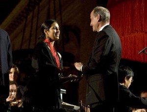 Jhumpa Lahiri accepting her Library Lions Medallion from NYPL President Paul LeClerc in 2007. Photo by Jori Klein