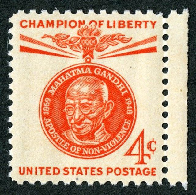 """Mahatma Gandhi """"Champion of Liberty"""" stamp issued by the U.S. Postal Service on January 26, 1961. Courtesy of SAADA."""