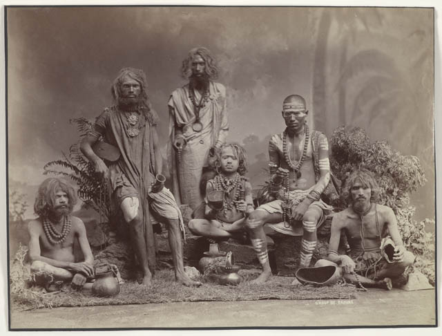 Group of yogis - photograph from British India