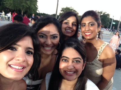 The Bollywood Fan Tribe, Gloria on the left, traveled to Tampa Bay