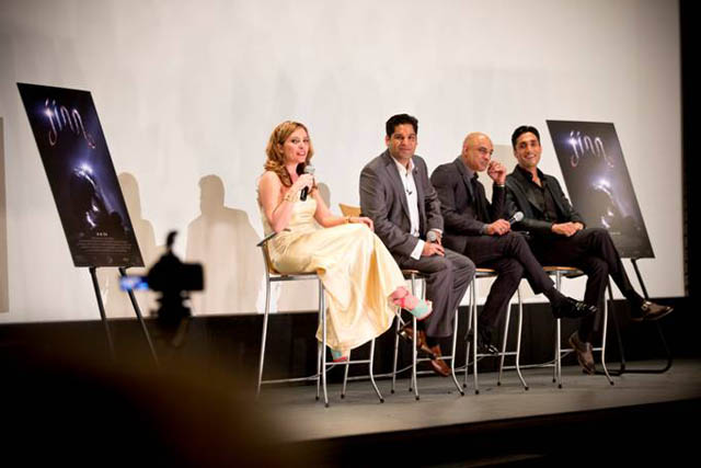 Caption: (L-R) Brittany Guerriero with writer/director Ajmal Zaheer Ahmad and actors Faran Tahir and Dominic Rains.  Credit: Ryan Doyle, Video Vision 360