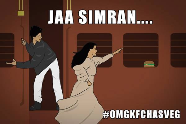 A Bollywood moment as Simran chases the KFC veggie twister.