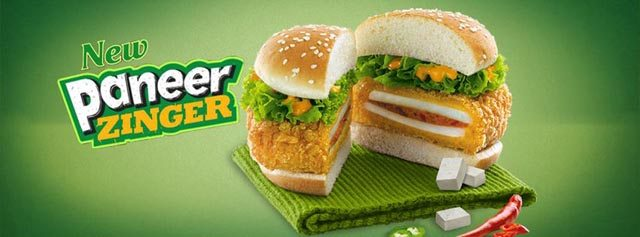 The Paneer Zinger from KFC in India