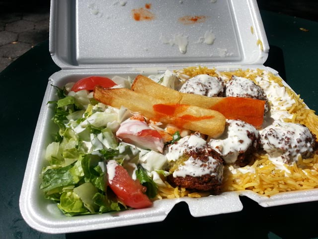 A true city meal - Falafal over Rice