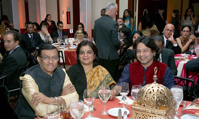Ambassador Dnyaneshwar M. Mulay, Consul General of India, Mrs. Sadhna Shanker & Kailash Kher. Photo: Jay Mandal/On Assignment