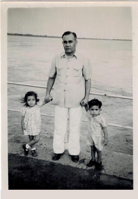 On the Bombay water front with my father and brother at the age of three