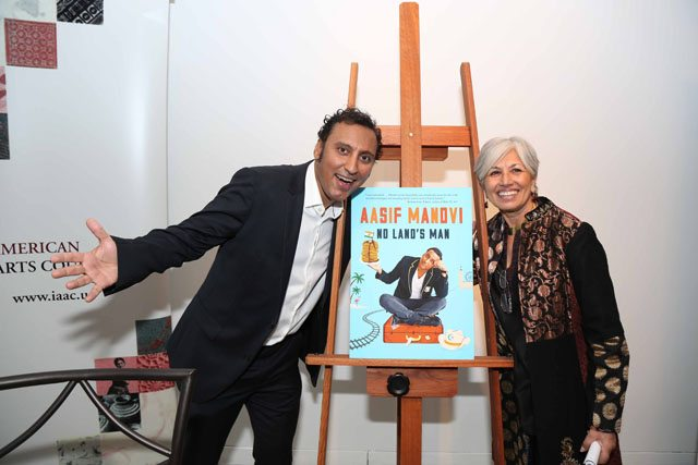 Aasif Mandvi with Aroon Shivdasani at the book launch of 'No Land's Man'