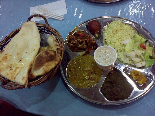 A vegetarian thali - (Creative Commons)