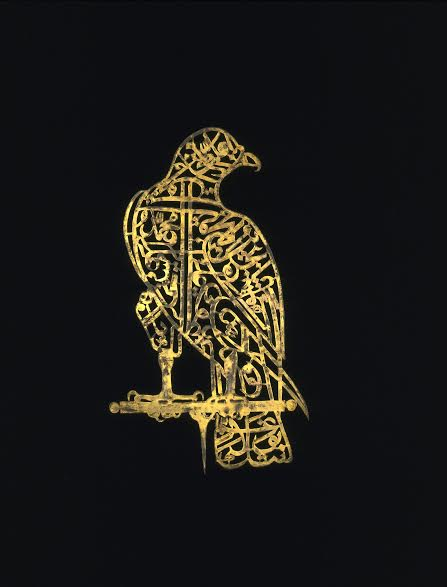 Calligraphic 'Alam in the Shape of a Falcon Golconda, 17th century Perforated gilt copper H. 13¾ in. (34.9 cm), W. 8 in. (20.3 cm) Victoria and Albert Museum, London Image: © Victoria and Albert Museum