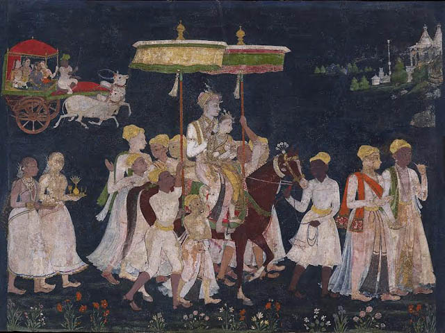 Wedding Procession of Sultan Muhammad Quli Qutb Shah Golconda, ca. 1650 Opaque watercolor and gold on paper, 9⅝ × 12¾ in. (24.3 × 32.3 cm) The Ashmolean Museum, Oxford. Lent by Howard Hodgkin.