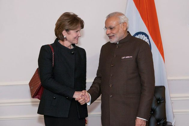 Meeting top CEOs- PM Modi with Marillyn A.Hewson,Chairman,President & CEO,Lockheed Martin Corporation