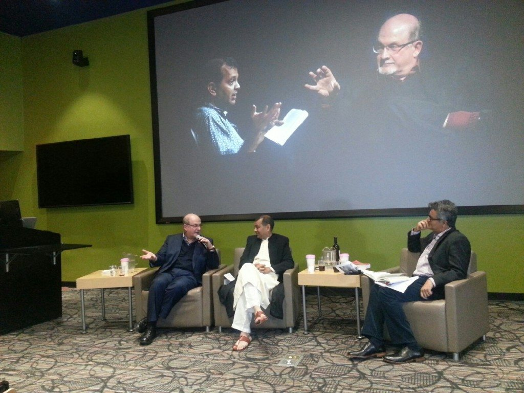 Salman Rushdie, Suketu Mehta and Amitava Kumar (Photo: Lavina Melwani)