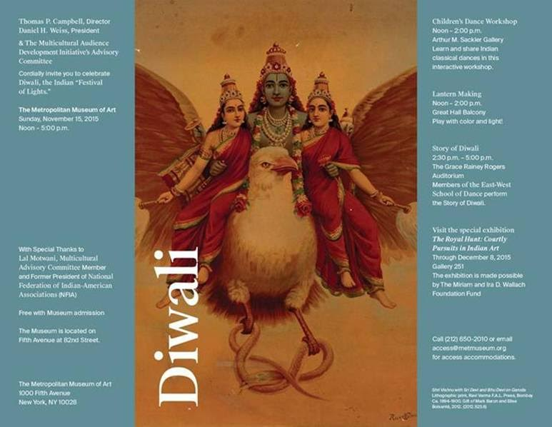 The Diwali Invitation for festivities at the MET