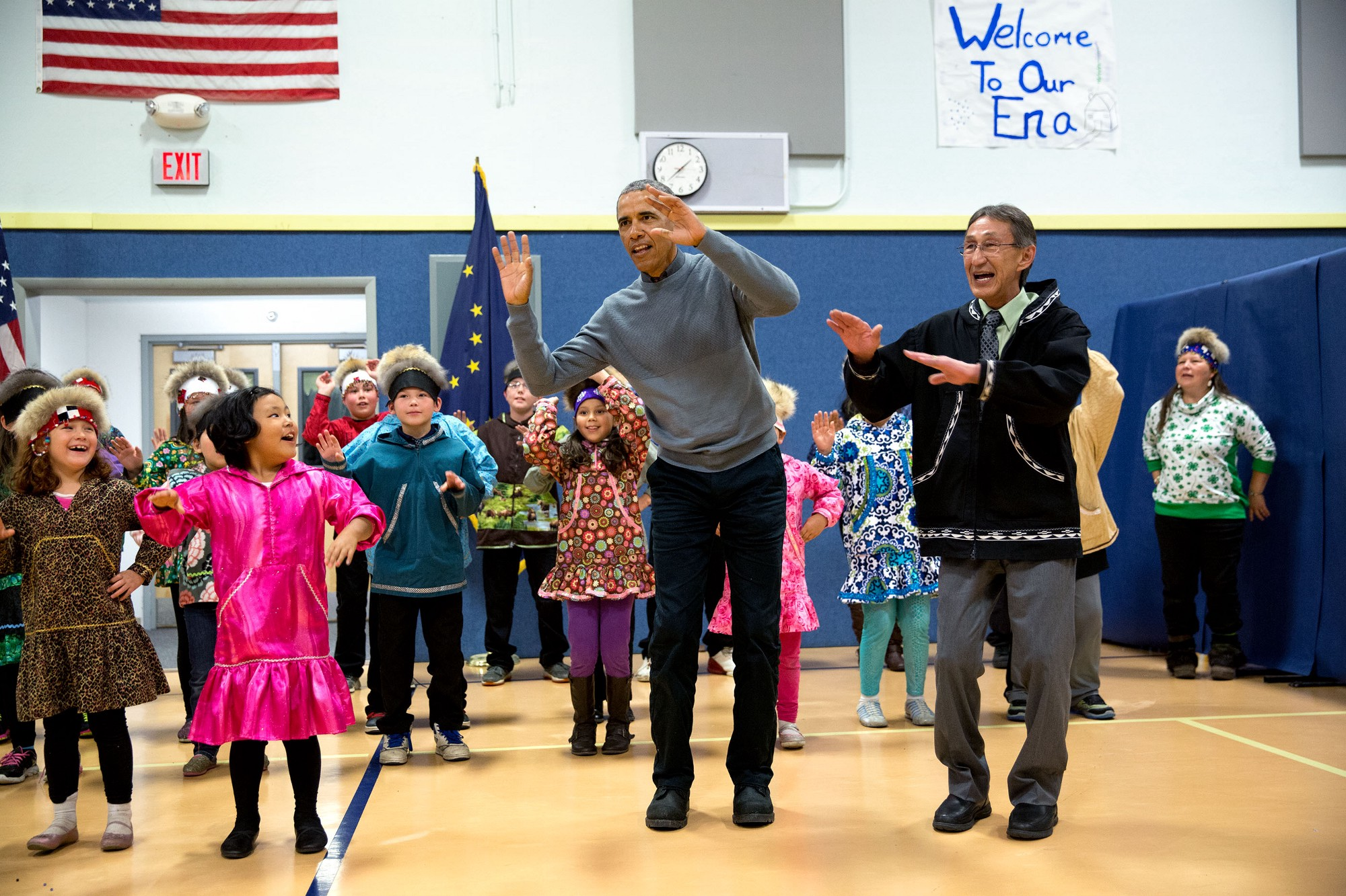 """The President joins locals during a cultural dance performance at Dillingham Middle School in Dillingham, Alaska."" (Official White House Photo by Pete Souza)"