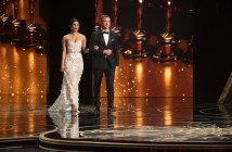 Presenters Priyanka Chopra and Liev Schreiber on stage during the live ABC Telecast of The 88th Oscars® at the Dolby® Theatre in Hollywood, CA on Sunday, February 28, 2016.