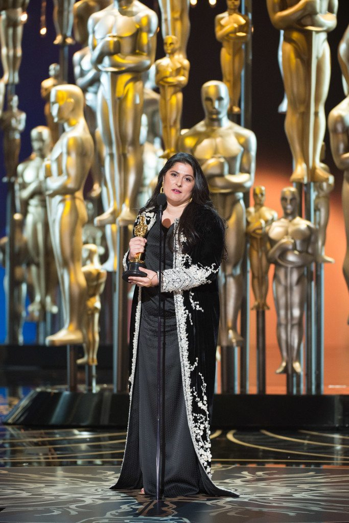 """Sharmeen Obaid-Chinoy accepts the Oscar® for Best documentary short subject, for work on """"A Girl in the River: The Price of Forgiveness"""" during the live ABC Telecast of The 88th Oscars® at the Dolby® Theatre in Hollywood, CA on Sunday, February 28, 2016."""