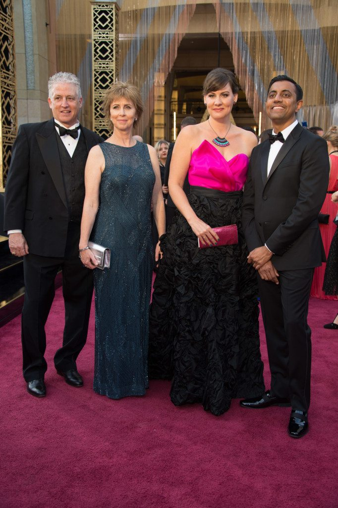 (From left) Guest, Oscar®-nominee Nicole Grindle, guest, Oscar®-nominee Sanjay Patel arrive at The 88th Oscars® at the Dolby® Theatre in Hollywood, CA on Sunday, February 28, 2016.