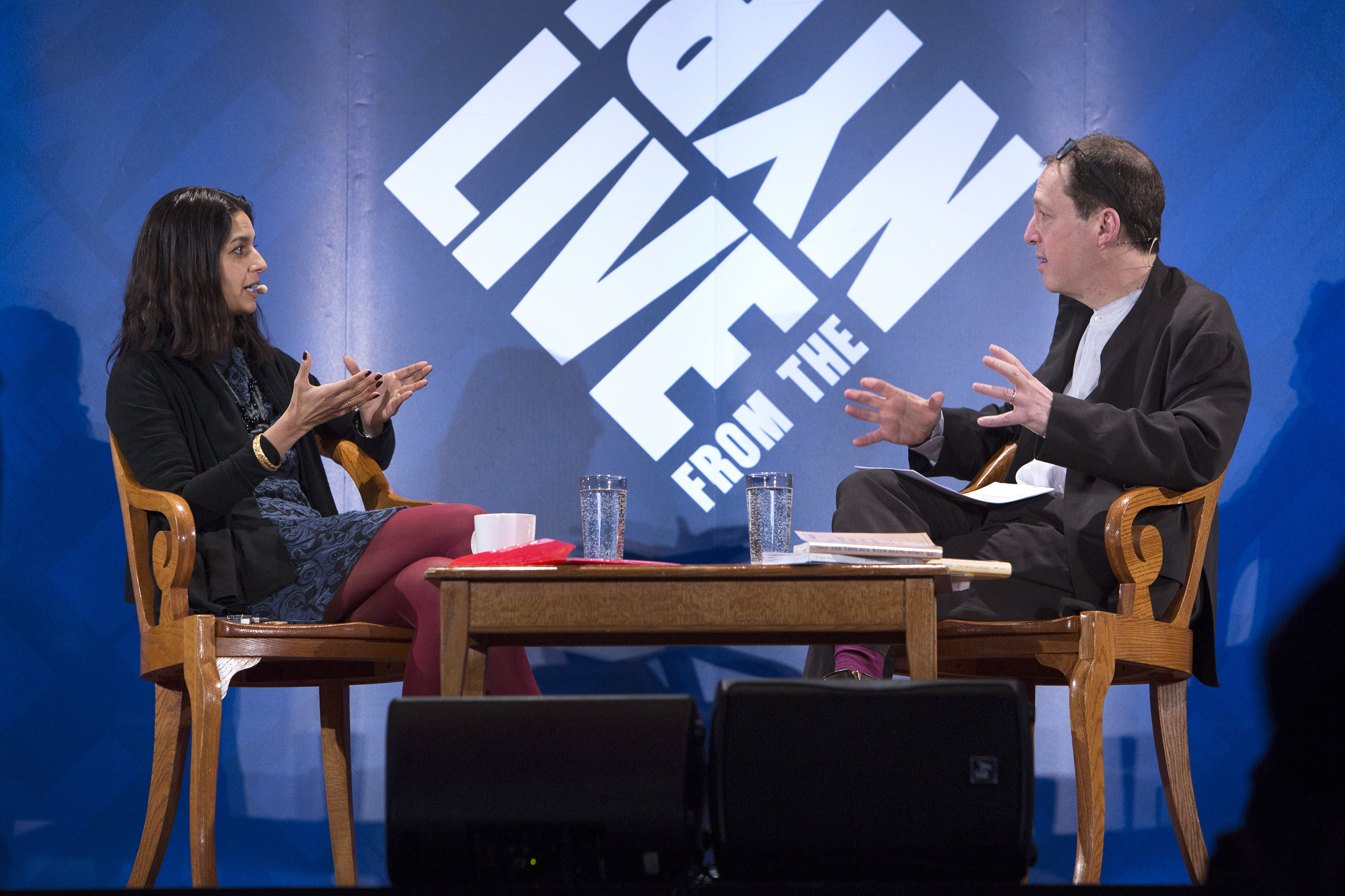 Jhumpa Lahiri with Paul Holdengräber at the NYPL