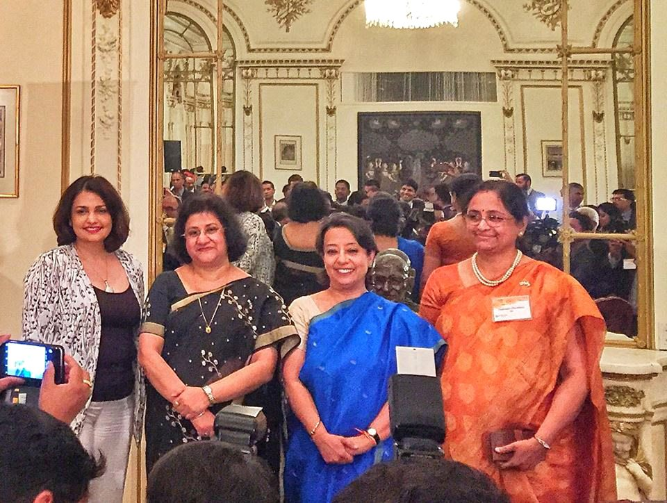 TiE NY President Roopa Unnikrishnan, State Bank of India ChaTiE NY President irman Arundhati Bhattacharya, CG Riva Ganguly Das, the USA Country Head of State Bank of India Padmaja Chunduru