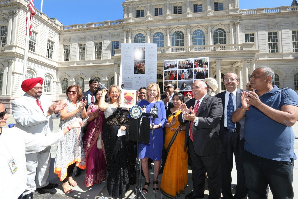 Diwali Stamp Project Committee on the steps of City Hall