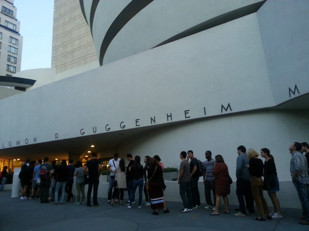 Crowds outside the Guggenheim Museum