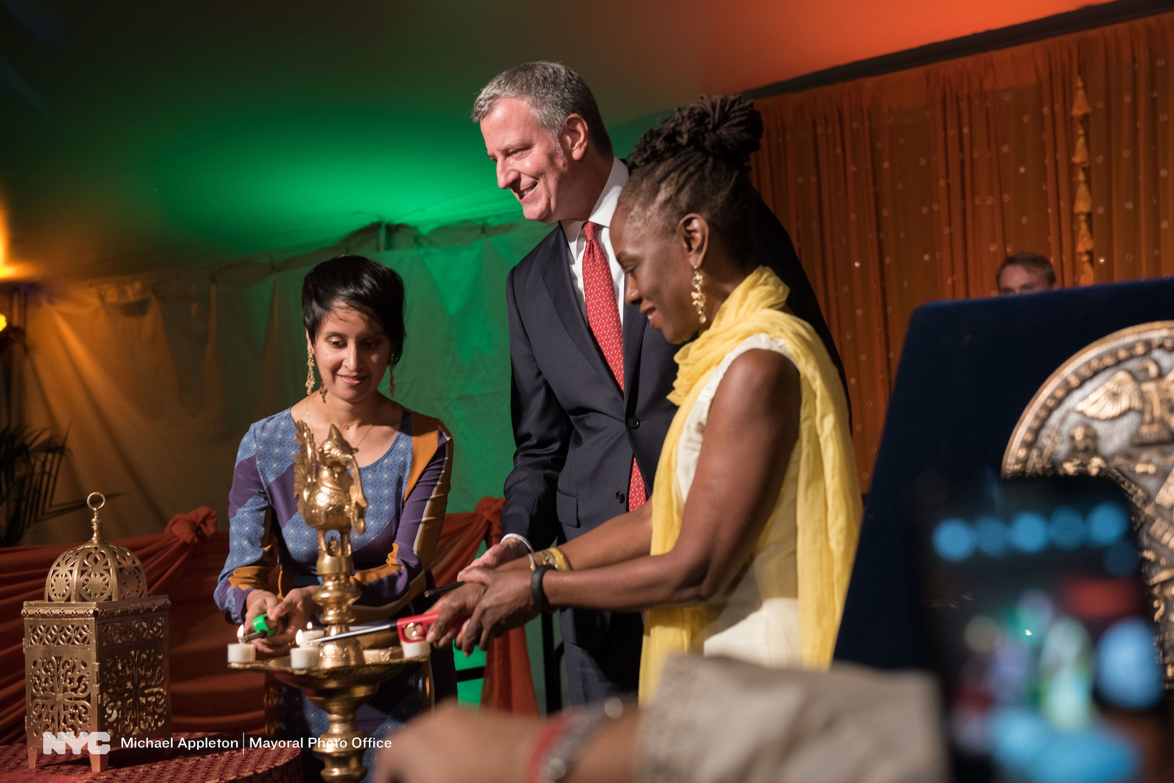First Lady Chirlane McCray light the Diwali lamp Michael Appleton/Mayoral Photography Office