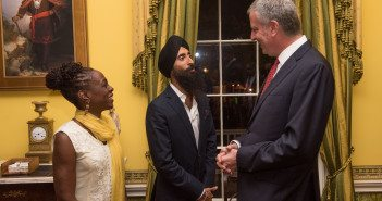 Mayor Bill de Blasio and New York City's First Lady Chirlane McCray host a Diwali celebration at Gracie Mansion with Indian American designer and actor Waris Ahluwalia as the honored guest, on Wednesday, October 19, 2016. Michael Appleton/Mayoral Photography Office