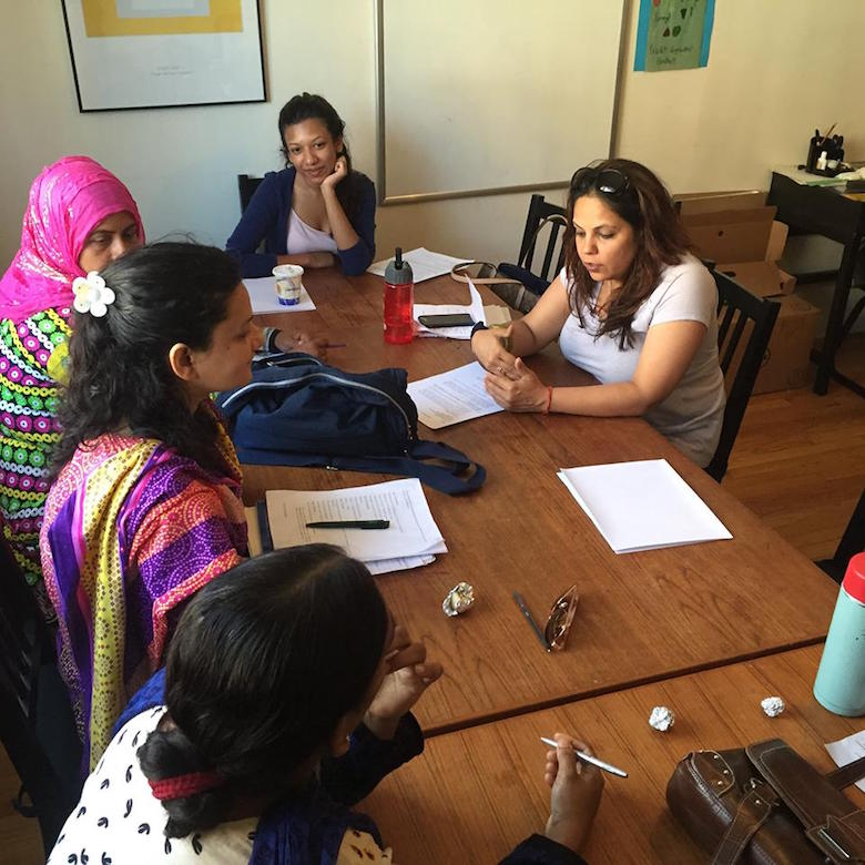 Surbhi Sahni with immigrant women trainees