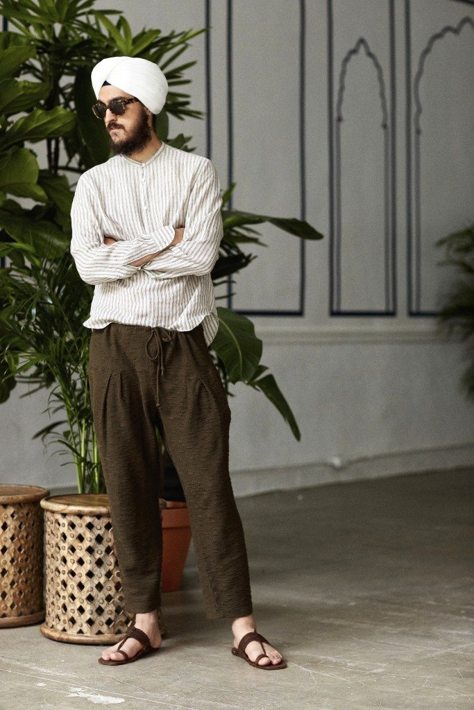 Tan/earthen linen double stripe dobby band collar popover, deep earthen reverse loopback terry pleated patiala pajama sweatpants