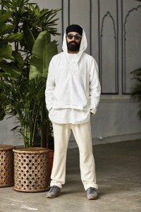 White slub nylon weatherclothanorak, white seersucker 'Madan' pleated placket kurta popover, natural reverse knit jersey drawcord sweatpants.