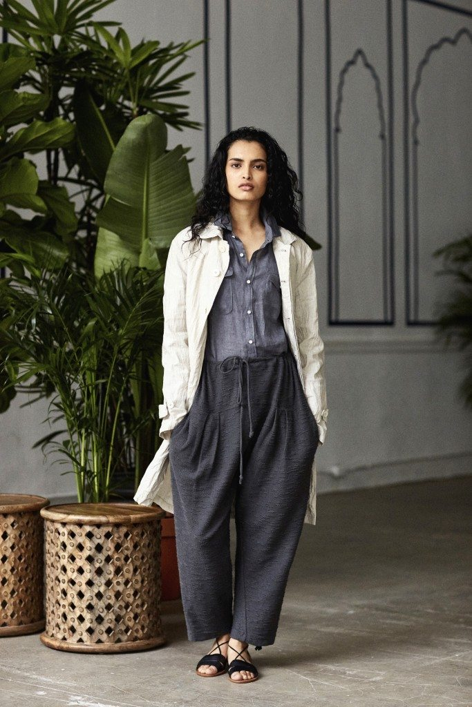 Natural bonded linen waterproof 'Bagru' duster, iron linen work shirt, deep iron reverse terry pleated pajama sweatpants.
