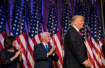 Donald J. Trump with Gov. Mike Pence at his victory speech on Tuesday night. Credit Damon Winter/The New York Times