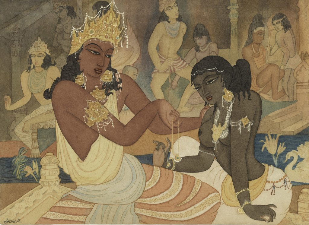Carudatta Presenting a Pearl Necklace to Vasantesena Chennai, ca. 1952 Watercolor on paper 10 in. x 13 5/8 in. (25.4 x 34.6 cm) Lent by Michael Pellettieri Photo: © 2016 M. Pellettieri