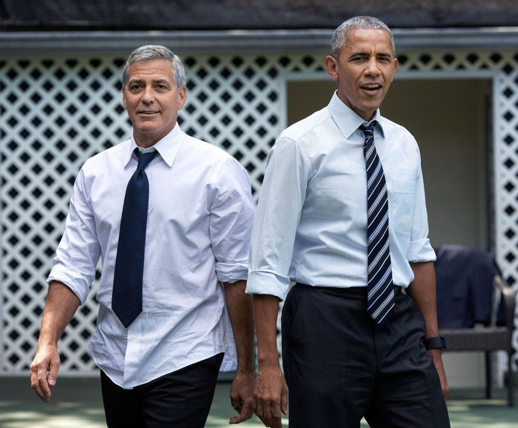 """11. Sept. 12, 2016 """"After a meeting with actor and human rights activist George Clooney, the President invited him and three of his colleagues to shoot hoops on the White House basketball court. This photo garnered a lot of attention when it was hung on the walls of the West Wing."""" (Official White House Photo by Pete Souza)"""