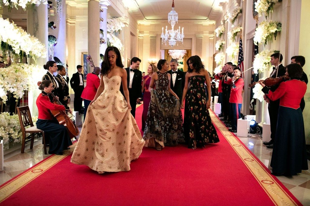 """3. March 10, 2016 """"What an honor to watch these girls grow up. Malia, foreground, and Sasha were both invited guests for the State Dinner in honor of Prime Minister Justin Trudeau of Canada and Mrs. Sophie Grégoire-Trudeau."""" (Official White House Photo by Pete Souza)"""
