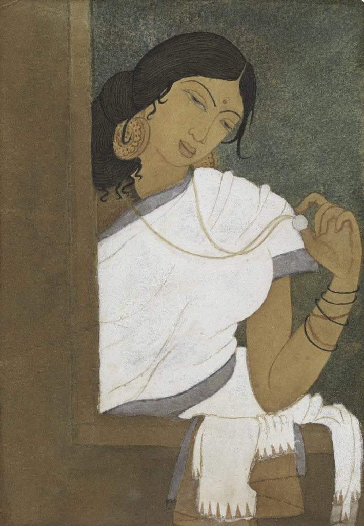 Woman with Medallion Chennai, early 1940s Watercolor on paper 6 ¾ in. x 4 5/8 in. Lent by Michael Pellettieri Photo: © 2016 M. Pellettieri