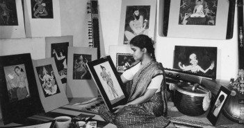 Y. G. Srimati in her studio, Sait Colony, Egmore