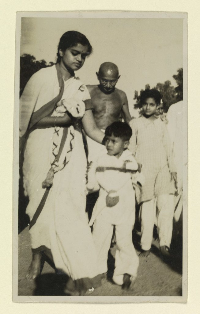Unknown photographer Y.G. Srimati accompanying Mahatma Gandhi at an independence rally Chennai, 1946 Gelatin silver print 5 ½ x 3 1/3 Lent by Michael Pellettieri